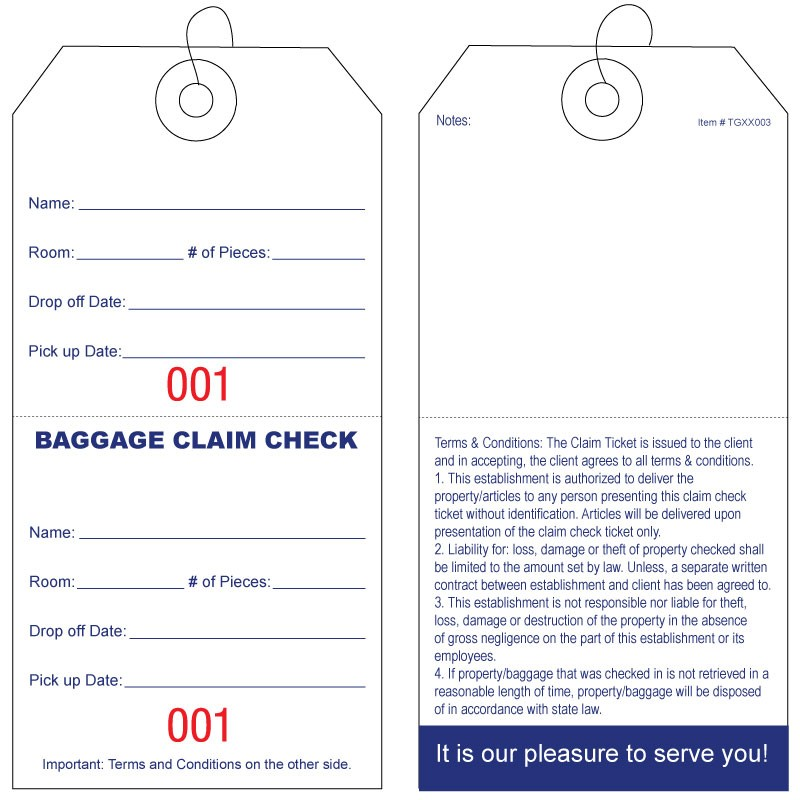 Baggage Claim Check Tags-In English Deluxe Edition