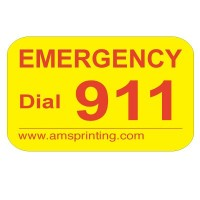 "Emergency Phone Dial 911 Label, 3/4"" x 1"" Yellow and Red"
