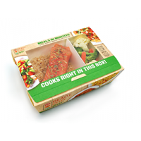 Take-out containers for microwave or oven cooking