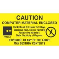"""CAUTION COMPUTER MATERIAL ENCLOSED"" Labels"