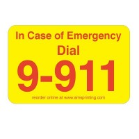 "In Case of Emergency Dial 9-911 Phone Labels, 1.25"" x 2"", Yellow & Red"