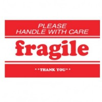 """PLEASE HANDLE WITH CARE FRAGILE THANK YOU"" Label"