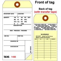 2 Part Inventory Tag with Transfer Tape - Plain