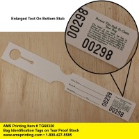 Bag Identification Tags, Tear Proof Stock