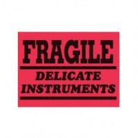 "Red Fluores. ""FRAGILE DELICATE INSTRUMENTS"" Label"