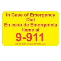 "English/Spanish Emergency 9-911 Label, 1.25"" x 2"", Yellow & Red"