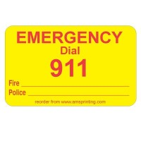 "Fire & Police Emergency Dial 911 Label, 1.25"" x 2"", Yellow & Red"