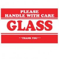 """PLEASE HANDLE WITH CARE GLASS THANK YOU"" Label"