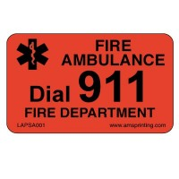 "Fire Ambulance Emergency Label, 1.25"" x 2"", Fl. Red & Black"