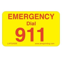 "Emergency Dial 911 Label, 1.25"" x 2"", Yellow & Red"