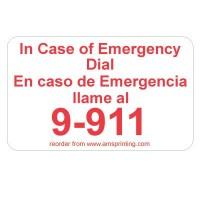 "English/Spanish Emergency 9-911, 1.25"" x 2"", White & Red"