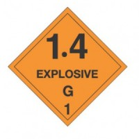 """EXPLOSIVE 1.4 G"" - D.O.T. Label"