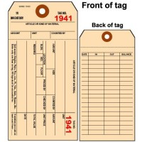 1 part Manila Colored Inventory Tag - Plain