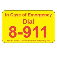 "In Case of Emergency  Dial 8-911 Phone Labels, 1.25"" x 2"", Yellow & Red"