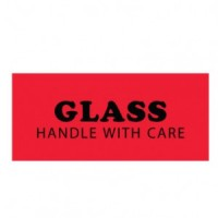 "Fluorescent Red ""GLASS HANDLE WITH CARE"" Label"