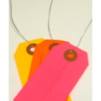 """#1 Fluorescent Pre-Wired Tags (2 3/4"""" x 1 3/8"""")"""