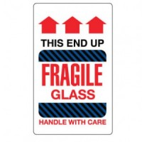 THIS END UP FRAGILE GLASS HANDLE WITH CARE Label