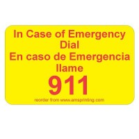 "English/Spanish Emergency 911 Label, 1.25"" x 2"", Yellow & Red"