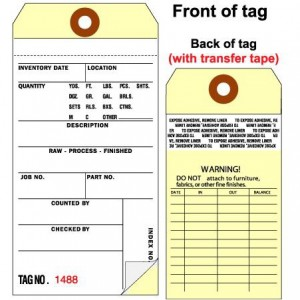 2 Part Carbonless Inventory Tag with Tape on Back