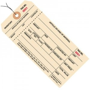 1 part Manila Colored Inventory Tag - Pre-Wired