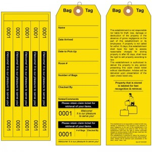 Superior Baggage Claim Tags with 5 labels, Yellow
