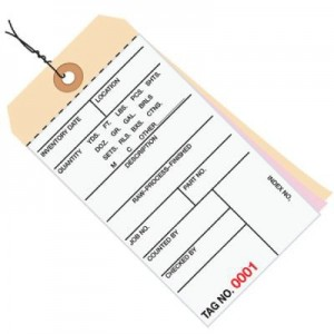 3 Part Carbonless Inventory Tags - Pre-Wired