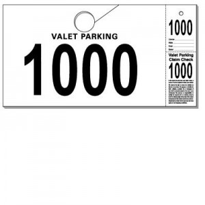 Parking-Valet & Claim Check Tags, White, 9 1/2\