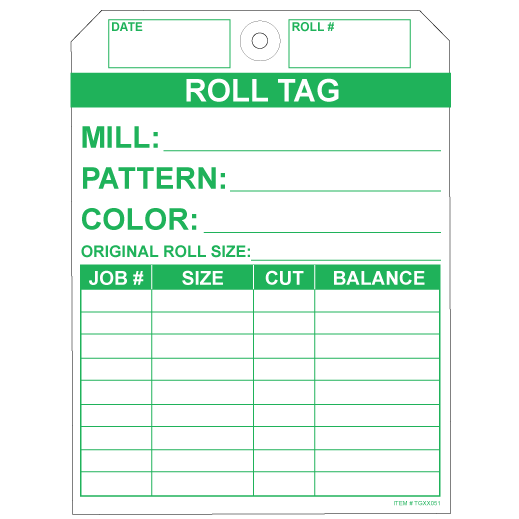 """No Rip Carpet Roll Tags, White and Green Tyvek, 5.25"""" x 7"""""""
