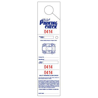 """Parking & Claim Check Tags, White, 2 1/2"""" x 10 1/2"""""""