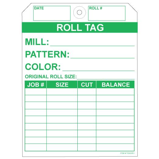 "Carpet Roll Tag - Green on 10pt Tag, 5.25"" X 7"""