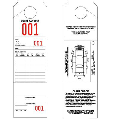 """Parking & Claim Check Tags, White, 9 1/2"""" x 2 3/4"""""""