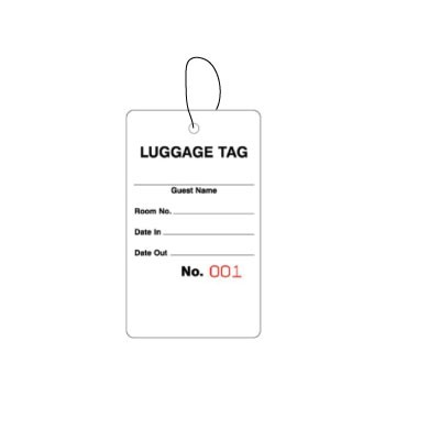 Bag Identification Tags, White Stock, Red Numbers