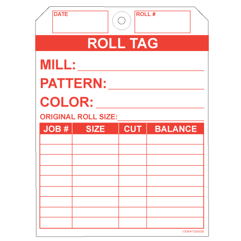 """No Rip Carpet Roll Tags, White and Red Tyvek, 5.25"""" x 7"""""""